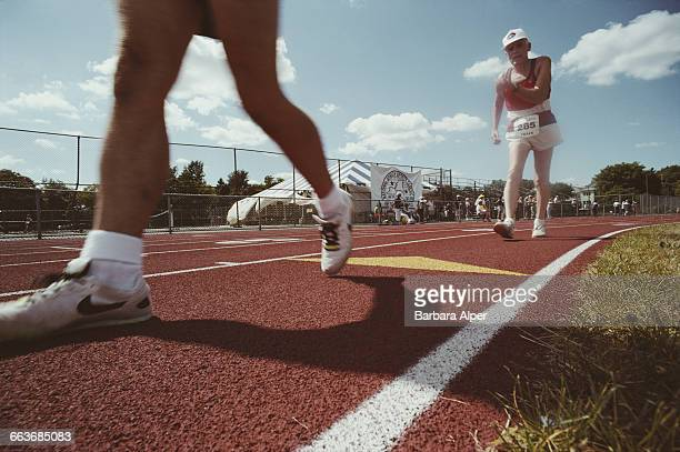 Race walking during the National Senior Games or Senior Olympics in Syracuse New York July 1991