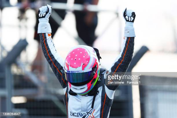 Race winner Alice Powell of Great Britain and Racing X celebrates in parc ferme during the W Series Round 6 race at Circuit Zandvoort on September...