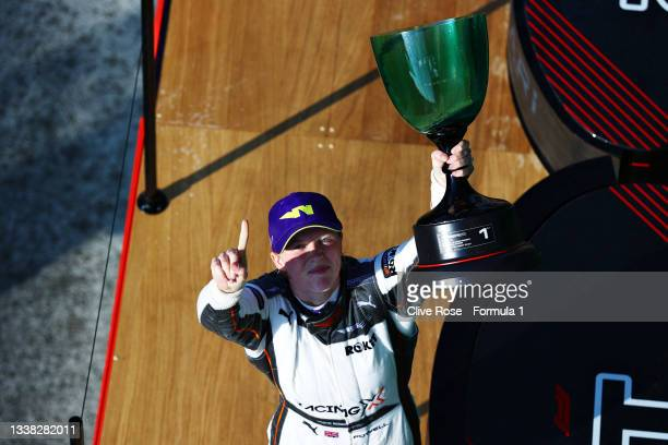 Race winner Alice Powell of Great Britain and Racing X celebrates on the podium during the W Series Round 6 race at Circuit Zandvoort on September...
