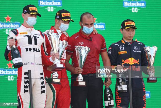 Race winner Arthur Leclerc of Monaco and Prema Racing, second placed Logan Sargeant of United States and Charouz Racing System and third placed Ayumu...