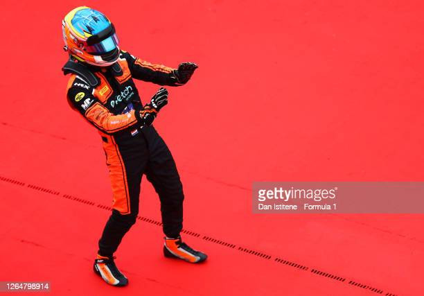 Race winner Bent Viscaal of the Netherlands and MP Motorsport celebrates in parc ferme during race two of the Formula 3 Championship at Silverstone...