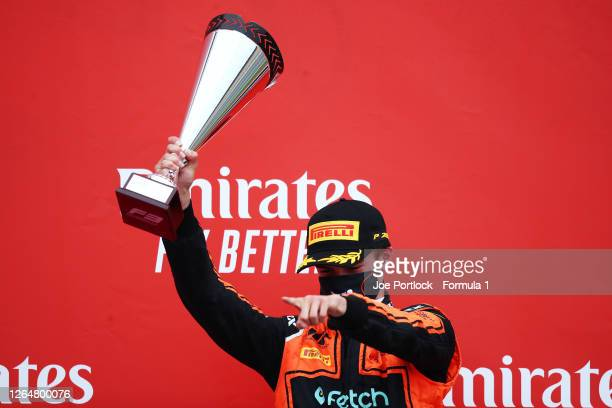 Race winner Bent Viscaal of the Netherlands and MP Motorsport celebrates on the podium during race two of the Formula 3 Championship at Silverstone...
