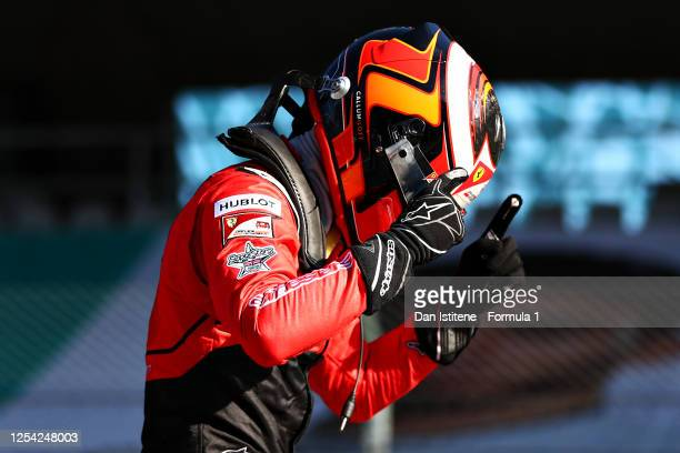 Race winner Callum Ilott of Great Britain and UNI-Virtuosi Racing celebrates in parc ferme during the feature race for the Formula 2 Championship at...