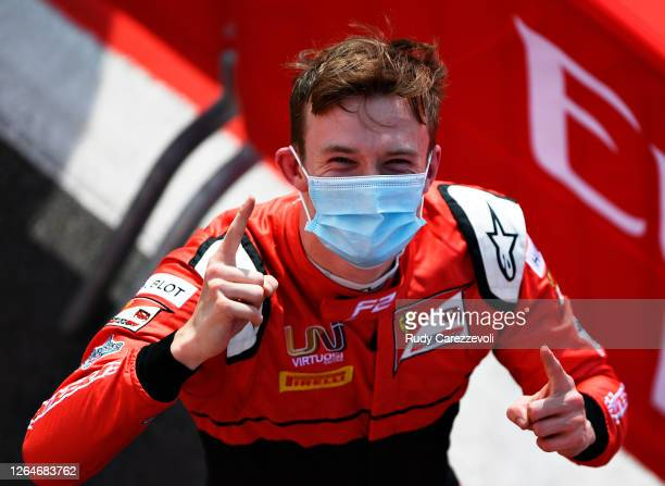 Race winner Callum Ilott of Great Britain and UNI-Virtuosi Racing celebrates in parc ferme during the feature race of the Formula 2 Championship at...