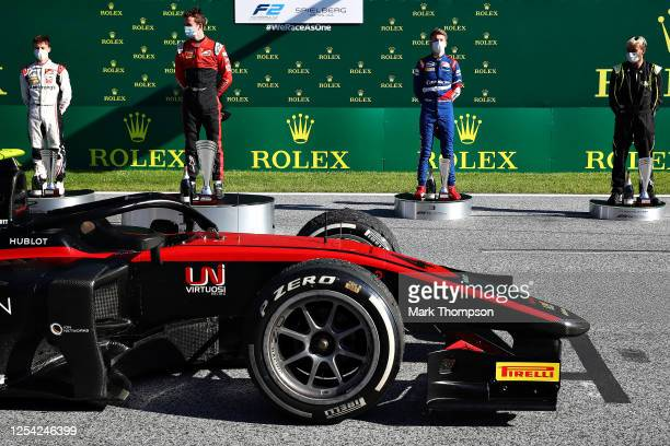 Race winner Callum Ilott of Great Britain and UNI-Virtuosi Racing, second placed Marcus Armstrong of New Zealand and ART Grand Prix and third placed...