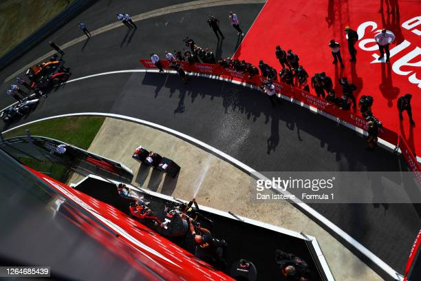 Race winner Callum Ilott of Great Britain and UNI-Virtuosi Racing, second placed Christian Lundgaard of Denmark and ART Grand Prix, and third placed...