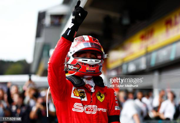 Race winner Charles Leclerc of Monaco and Ferrari celebrates in parc ferme during the F1 Grand Prix of Belgium at Circuit de SpaFrancorchamps on...