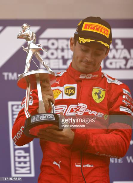 Race winner Charles Leclerc of Monaco and Ferrari celebrates on the podium during the F1 Grand Prix of Belgium at Circuit de SpaFrancorchamps on...