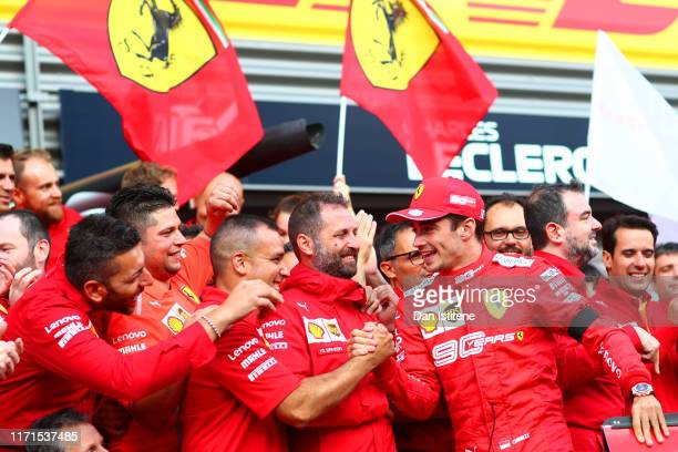 Race winner Charles Leclerc of Monaco and Ferrari celebrates with his team after the F1 Grand Prix of Belgium at Circuit de SpaFrancorchamps on...