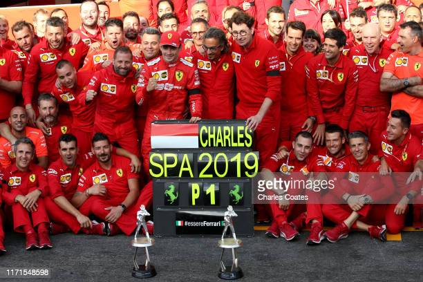 Race winner Charles Leclerc of Monaco and Ferrari celebrates with his team after the F1 Grand Prix of Belgium at Circuit de Spa-Francorchamps on...