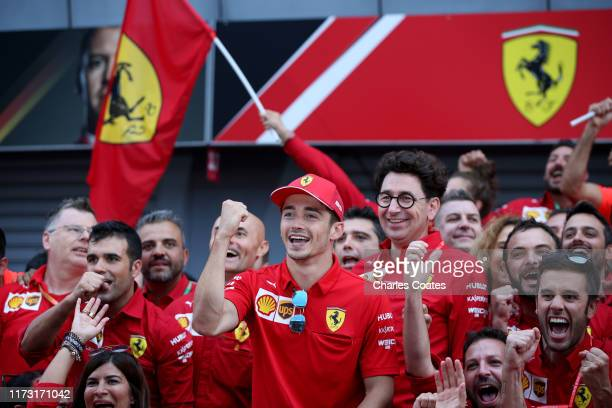 Race winner Charles Leclerc of Monaco and Ferrari celebrates with his team after the F1 Grand Prix of Italy at Autodromo di Monza on September 08,...