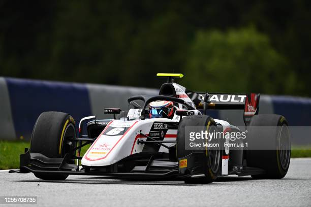 Race winner Christian Lundgaard of Denmark and ART Grand Prix celebrates during the sprint race for the Formula 2 Championship at Red Bull Ring on...