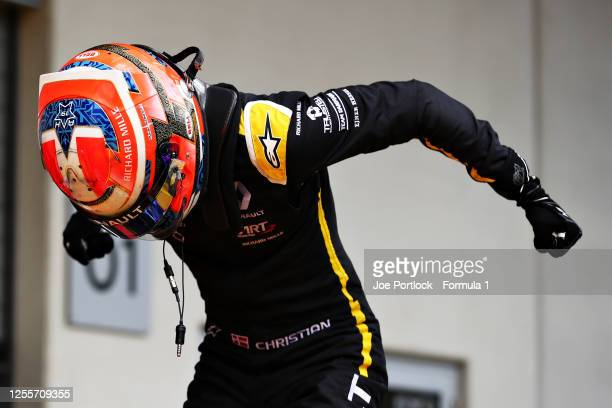 Race winner Christian Lundgaard of Denmark and ART Grand Prix celebrates in parc ferme during the sprint race for the Formula 2 Championship at Red...