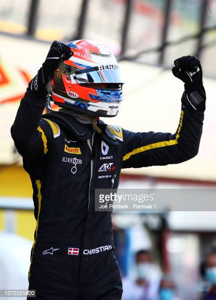 Race winner Christian Lundgaard of Denmark and ART Grand Prix celebrates in parc ferme during the Formula 2 Championship Sprint Race at Mugello...