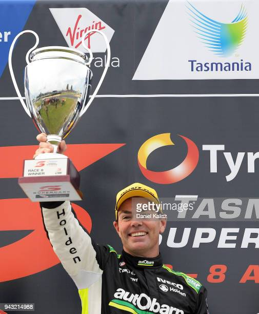 Race winner Craig Lowndes driver of the Autobarn Lowndes Racing Holden Commodore ZB celebrates after race 2 for the Supercars Tasmania SuperSprint on...