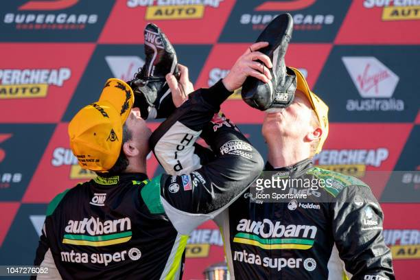 Race Winner Craig Lowndes / Steven Richards in the Autobarn Lowndes Racing Holden Commodore at the Supercheap Auto Bathurst 1000 V8 Supercar Race at...