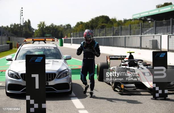 Race winner Dan Ticktum of Great Britain and DAMS arrives in parc ferme in the FIA Medical Car after stopping his car on track during the sprint race...