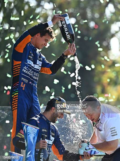 Race winner Daniel Ricciardo of Australia and McLaren F1, second placed Lando Norris of Great Britain and McLaren F1 and McLaren Chief Executive...