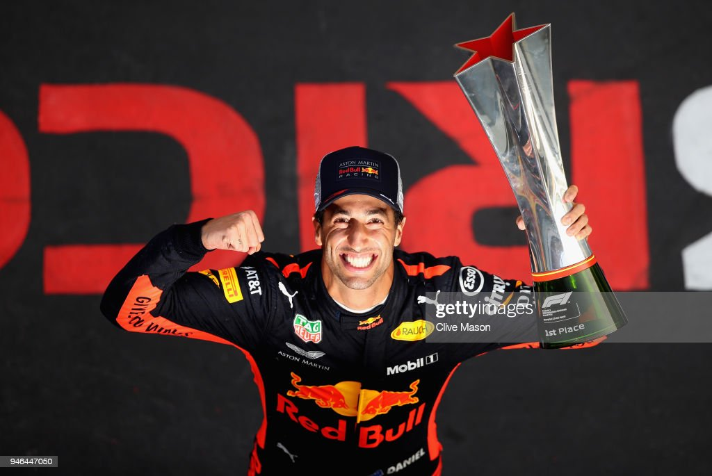 Race winner Daniel Ricciardo of Australia and Red Bull Racing celebrates after the Formula One Grand Prix of China at Shanghai International Circuit on April 15, 2018 in Shanghai, China.