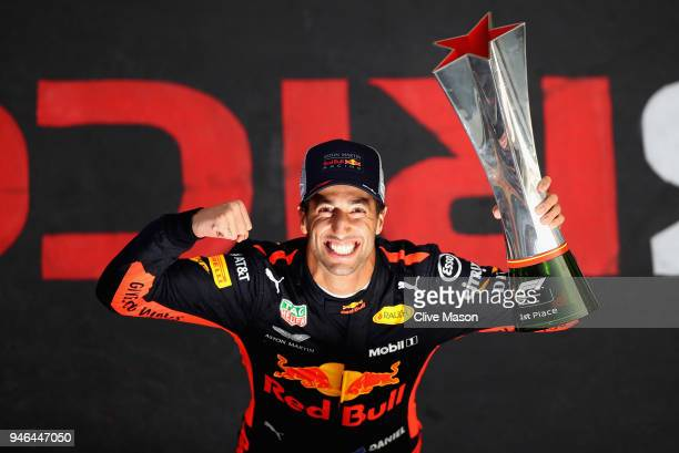 Race winner Daniel Ricciardo of Australia and Red Bull Racing celebrates after the Formula One Grand Prix of China at Shanghai International Circuit...