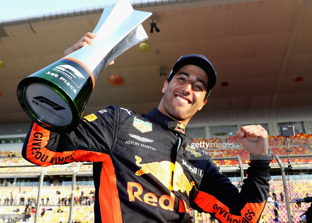 Race winner Daniel Ricciardo of Australia and Red Bull Racing celebrates after the Formula One Grand Prix of China at Shanghai International Circuit on April 15, 2018 in Shanghai, China.
