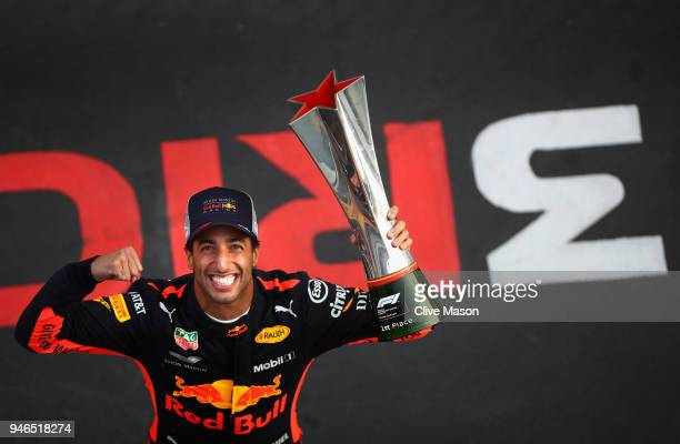 Race winner Daniel Ricciardo of Australia and Red Bull Racing celebrates after the Formula One Grand Prix of China at Shanghai International Circuit...