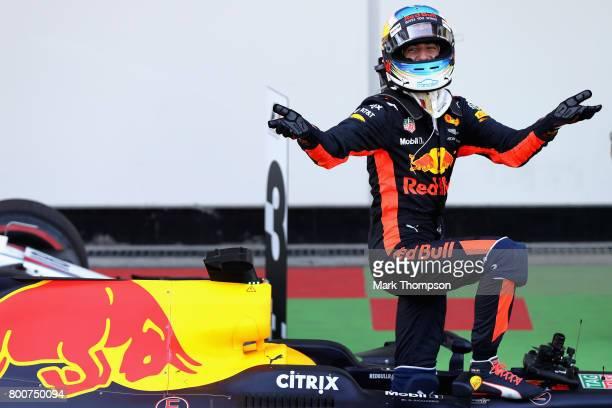 Race winner Daniel Ricciardo of Australia and Red Bull Racing celebrates his win in parc ferme during the Azerbaijan Formula One Grand Prix at Baku...