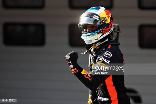 Race winner Daniel Ricciardo of Australia and Red Bull Racing celebrates in parc ferme during the Formula One Grand Prix of China at Shanghai...