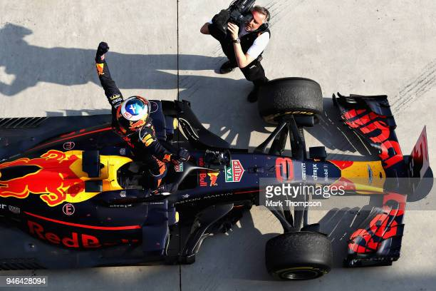 Race winner Daniel Ricciardo of Australia and Red Bull Racing celebrates in parc ferme during the Formula One Grand Prix of China at Shanghai...