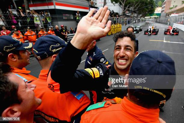 Race winner Daniel Ricciardo of Australia and Red Bull Racing celebrates in parc ferme during the Monaco Formula One Grand Prix at Circuit de Monaco...