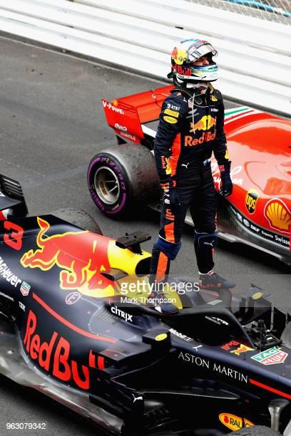 Race winner Daniel Ricciardo of Australia and Red Bull Racing celebrates in parc ferme during the Monaco Formula One Grand Prix at Circuit de Monaco...