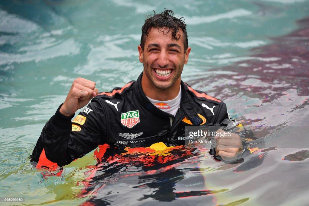 Race winner Daniel Ricciardo of Australia and Red Bull Racing celebrates in the swimming pool of the Red Bull Energy Station after the Monaco Formula One Grand Prix at Circuit de Monaco on May 27, 2018 in Monte-Carlo, Monaco.