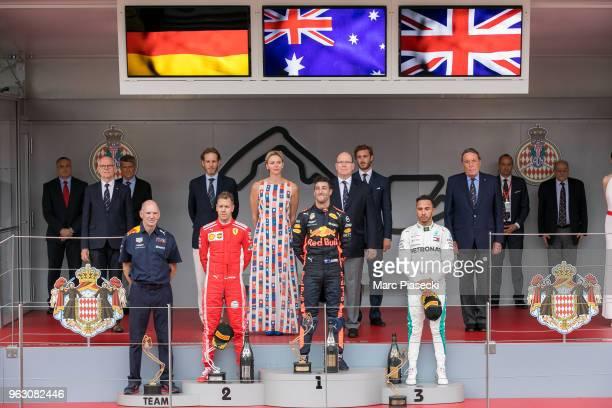 Race winner Daniel Ricciardo of Australia and Red Bull Racing is seen on the podium during the Monaco Formula One Grand Prix at Circuit de Monaco on...