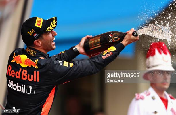 Race winner Daniel Ricciardo of Australia and Red Bull Racing celebrates on the podium during the Monaco Formula One Grand Prix at Circuit de Monaco...