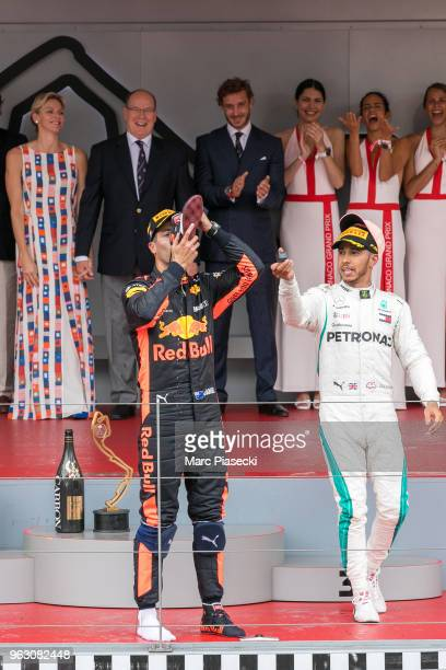 Race winner Daniel Ricciardo of Australia and Red Bull Racing celebrates on the podium at Circuit de Monaco on May 27 2018 in MonteCarlo Monaco