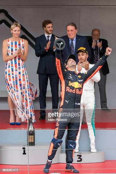 Race winner Daniel Ricciardo of Australia and Red Bull Racing celebrates on the podium during the Monaco Formula One Grand Prix at Circuit de Monaco...