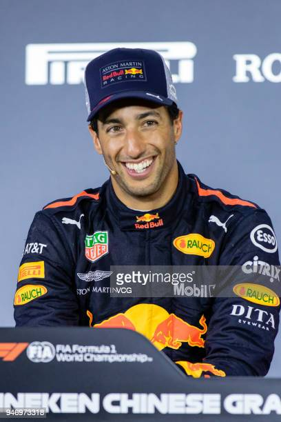 Race winner Daniel Ricciardo of Australia and Red Bull Racing smiles in the post race press conference after Formula One Grand Prix of China at...