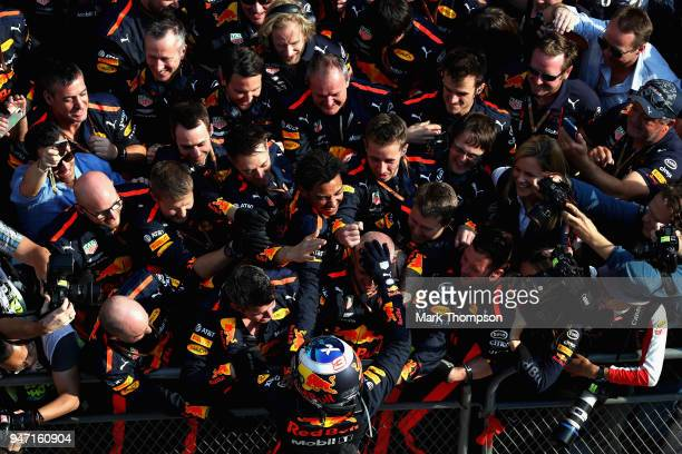 Race winner Daniel Ricciardo of Australia and Red Bull Racing celebrates with his team in parc ferme during the Formula One Grand Prix of China at...