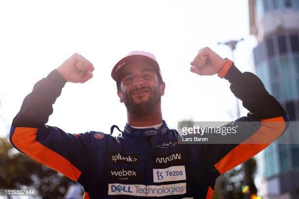 Race winner Daniel Ricciardo of Australia driving the McLaren F1 Team MCL35M Mercedes celebrates in parc ferme during the F1 Grand Prix of Italy at...