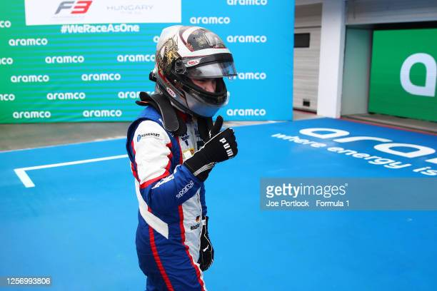 Race winner David Beckmann of Germany and Trident celebrates in parc ferme during race two of the Formula 3 Championship at Hungaroring on July 19,...