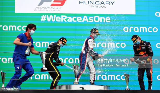 Race winner David Beckmann of Germany and Trident, second placed Oscar Piastri of Australia and Prema Racing and third placed Dennis Hauger of Norway...