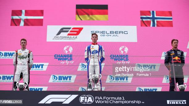 Race winner David Schumacher of Germany and Trident , second placed Frederik Vesti of Denmark and ART Grand Prix and third placed Dennis Hauger of...