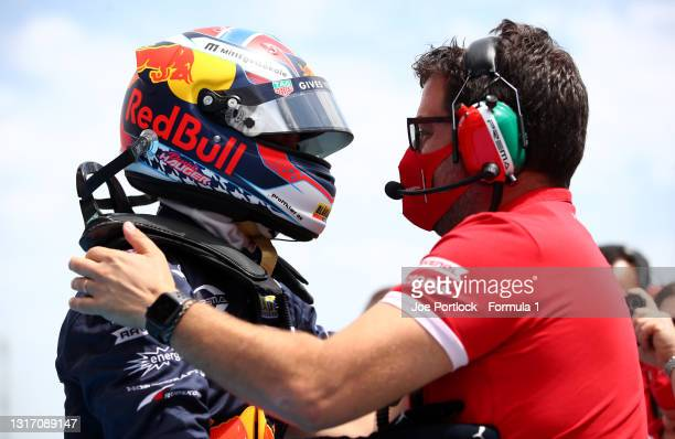 Race winner Dennis Hauger of Norway and Prema Racing celebrates in parc ferme during race 3 of Round 1:Barcelona of the Formula 3 Championship at...