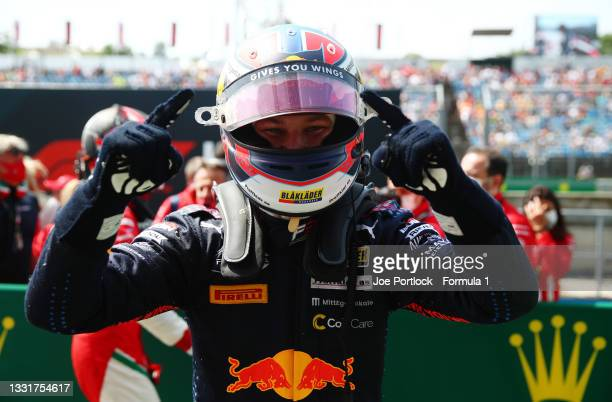 Race winner Dennis Hauger of Norway and Prema Racing celebrates in parc ferme during Round 4:Budapest race 3 of the Formula 3 Championship at...