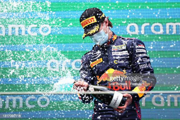 Race winner Dennis Hauger of Norway and Prema Racing celebrates on the podium during race 3 of Round 1:Barcelona of the Formula 3 Championship at...