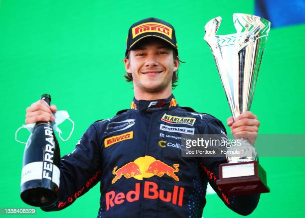 Race winner Dennis Hauger of Norway and Prema Racing celebrates on the podium during race 3 of Round 6:Zandvoort of the Formula 3 Championship at...