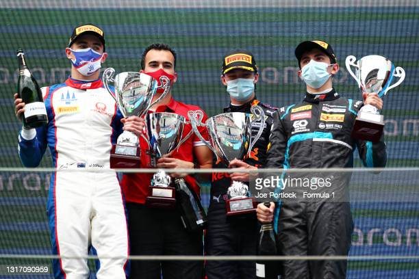 Race winner Dennis Hauger of Norway and Prema Racing, second placed Jack Doohan of Australia and Trident and third placed Matteo Nannini of Italy and...