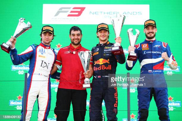 Race winner Dennis Hauger of Norway and Prema Racing, second placed Clement Novalak of France and Trident and third placed Aleksandr Smolyar of...