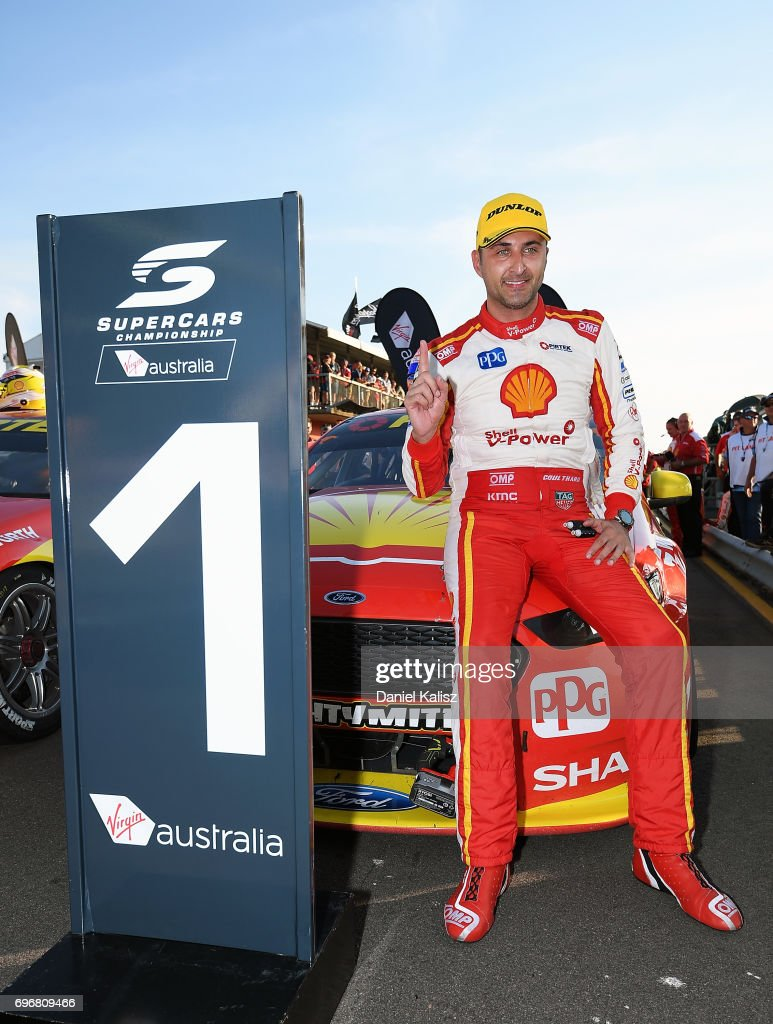 Race winner Fabian Coulthard driver of the #12 Shell V-Power Racing Team Ford Falcon FGX celebrates after race 11 for the Darwin Triple Crown, which is part of the Supercars Championship at Hidden Valley Raceway on June 17, 2017 in Darwin, Australia.