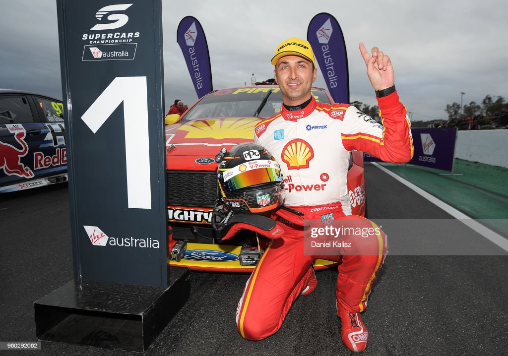 Race winner Fabian Coulthard driver of the #12 Shell V-Power Racing Team Ford Falcon FGX celebrates during race 14 for the Supercars Winton SuperSprint on May 20, 2018 in Melbourne, Australia.